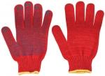 Перчатки вязаные утепленные красные х/б с ПВХ, FIT, 12499