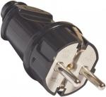 Вилка электрическая прямая с заземлением 16А 250В, черная, FIT, 83312
