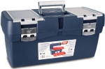 Ящик для инструментов синий+ футляр +карман, глубокий поддон, металлические замки №19, TAYG, 119002