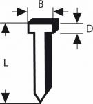 Гвозди 1000 шт, для степлера 1,45х1,8х14 мм, BOSCH, 1609200393