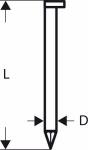 Гвозди 3000 шт, для пневматического гвоздезабивателя GSN 90-34 DK 2,8х50 мм, SN34DK 50, BOSCH, 2608200000