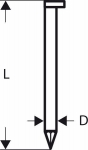 Гвозди 3000 шт, для пневматического гвоздезабивателя GSN 90-34 DK 2,8х50 мм, SN34DK 50HG, BOSCH, 2608200010