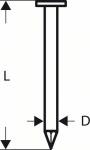 Гвозди 3000 шт, для пневматического гвоздезабивателя GSN 90-21 RK 2,8х75 мм, SN21RK 75, BOSCH, 2608200029