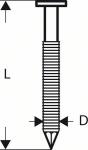 Гвозди 2500 шт, для пневматического гвоздезабивателя GSN 90-21 RK 3,1х90 мм, SN21RK 90RG, BOSCH, 2608200038