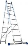 Лестница двухсекционная универсальная алюминиевая усиленная 2х18, АЛЮМЕТ, 6218