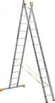 Лестница двухсекционная усиленная профессиональная 2х14 (409/715 см, 21,3 кг), АЛЮМЕТ, 9214