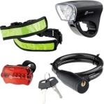 Набор велосипедный: передний и задний фонари Led, светоотражатель и тросовый замок, STERN, 90561